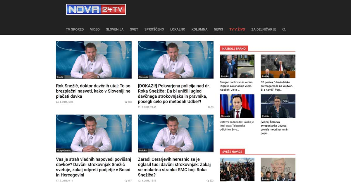 zajem zaslona / Nova24TV.si